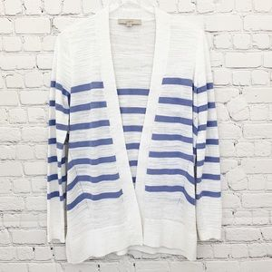 Loft - White Open Front Striped Cardigan, S